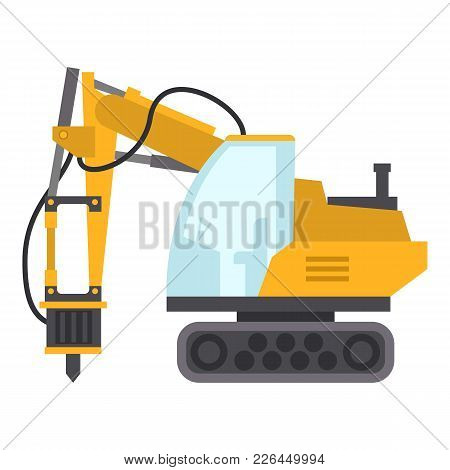 Excavator Hammer Icon. Flat Illustration Of Excavator Hammer Icon For Web