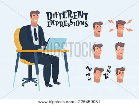 Vector Cartoon Illustration Of Man Sit At Table, Work Laptop. Different Avatar Expressions Set. Easy