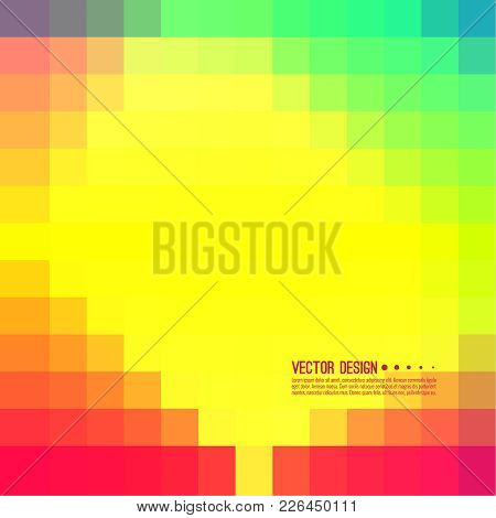 Abstract Pixel Background With Colorful Squares. Transition And Gradation Of Color. Vector Blend Gra