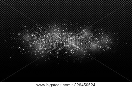Abstract White Lights On A Transparent Background. Flying Glowing Particles. Christmas Snow. Snowsto