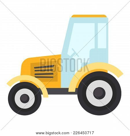 Tractor Icon. Flat Illustration Of Tractor Icon For Web