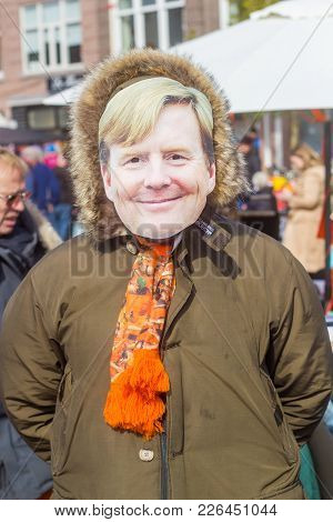 Thomsonlaan, The Hague, The Netherlands -27 April 2017: Person Wearing A Dutch King Willem-alexander