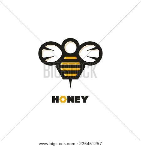 Honey Bee Vector Logo. Flat Outline Emblem