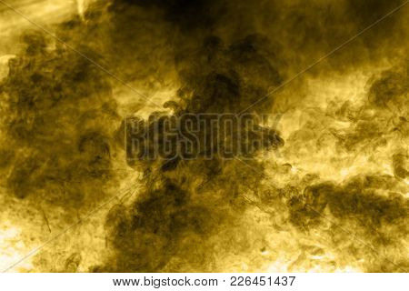 Smog Abstract Background,closeup. Yellow Color Smoke Background.