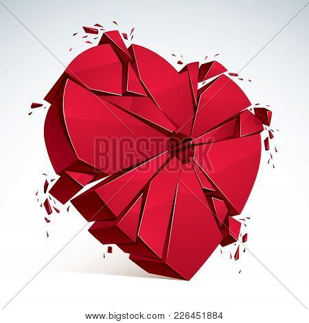 Breakup Concept Of Broken Heart, 3d Realistic Vector Illustration Of Heart Symbol Exploding To Piece