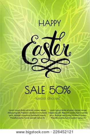 Poster Happy Easter Sales. Templates With Lettering. Typography Poster, Card, Label, Banner Design E