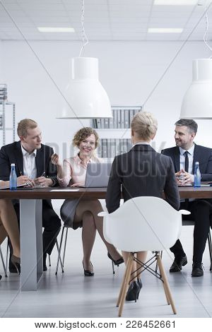 Businesswoman Talking With Potential Employee