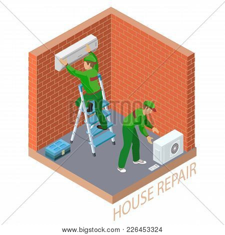 Home Repair Isometric Template. The Worker Is Standing On Ladder And Is Attaching Conditioner On A B