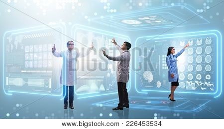 Team of doctor in remote diagnostics examination concept