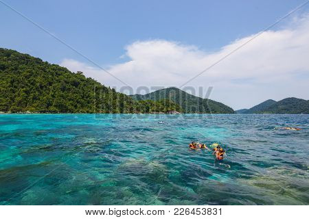 Phang-nga, Thailand  - February 14, 2016:  Surin Islands As A Tourist Destination Featured In The Be