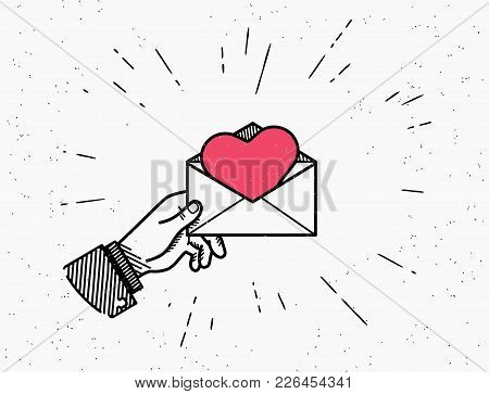 Saint Valentine Day Vector Illustration In Retro Style With Sunburst Isolated On White Background. H