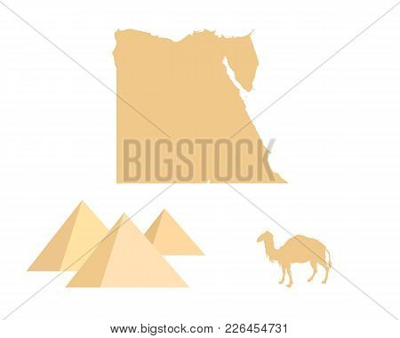 Detailed And Accurate Illustration Of Egypt, Pyramids And Camel On White