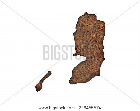Colorful And Crisp Image Of Map Of Palestine On Rusty Metal