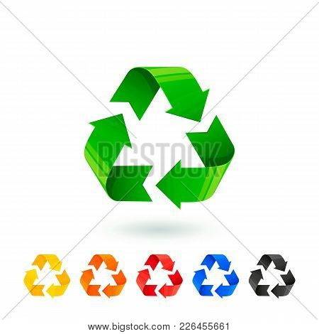 Resycle Icons Set. Waste Sorting, Segregation. Different Colored Recycle Signs. Waste Management Con