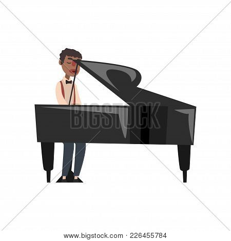 African American Jazz Musician Playing Grand Piano Vector Illustration Isolated On A White Backgroun