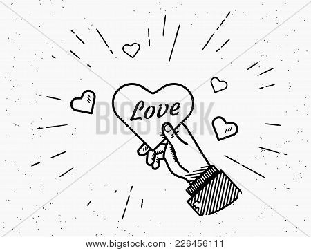 Saint Valentine Day Vector Illustration In Retro Style With Sunburst And Hearts Isolated On White Ba