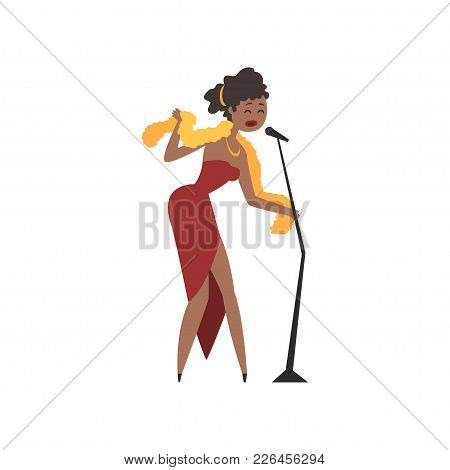 African American Female Soul Singer In Red Dress Singing Into Microphone Vector Illustration Isolate