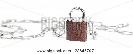 Closed Lock With Chain Stands Isolated On White Background