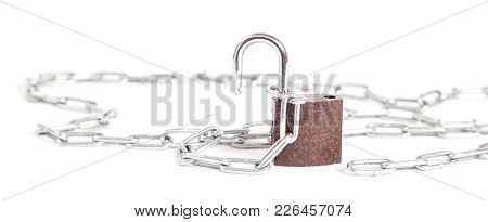 An Open Lock Hanging On Chain Isolated On White Background