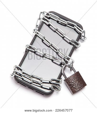 Mobile Phone Is Password Protected. The Phone Is Wrapped Around The Chain And Locked. Isolation On A