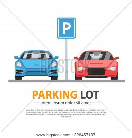 Parking Lot Mockup. City Area Divided Into Individual Spaces For Parking Motor Vehicles. Vector Flat