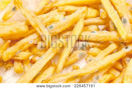 Bad Spoiled Food. French Fries With Green Mold