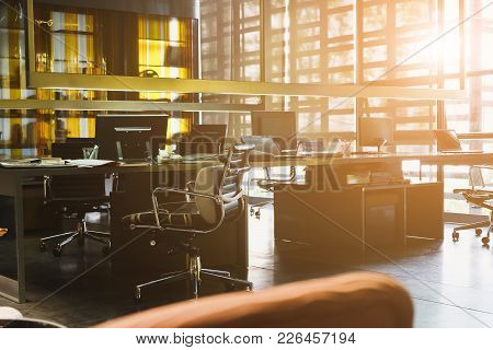 Office Desk, Image Of Modern Office Interior Background. An Idea Of Modern Workspace And Coworking S