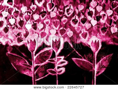 The hand painted painting of stylized flowers