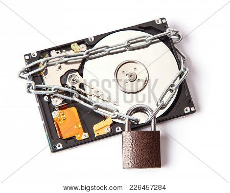 The Information Is Password Protected. The Hard Drive Is Wrapped Around The Chain With The Lock Lock