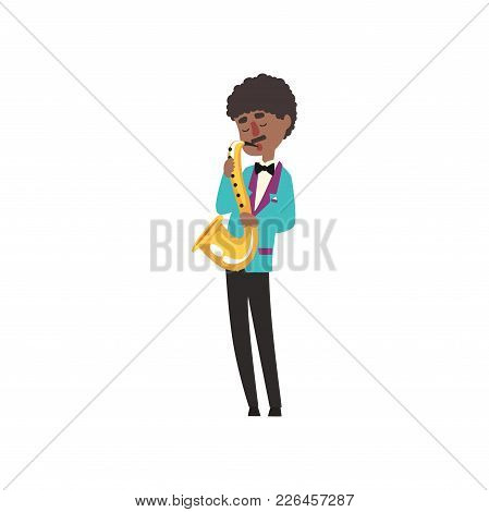 African American Jazz Musician Wearing Retro Elegant Suit Playing Saxophone Vector Illustration Isol