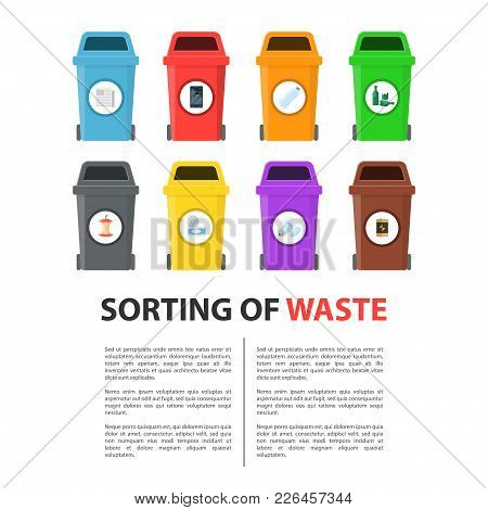 Waste Sorting Mockup. Colored Bins, Recycle Process By Which Waste Is Separated Into Different Eleme