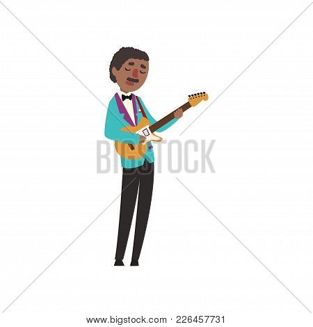 African American Jazz Musician Wearing Retro Elegant Suit Playing Guitar Vector Illustration Isolate