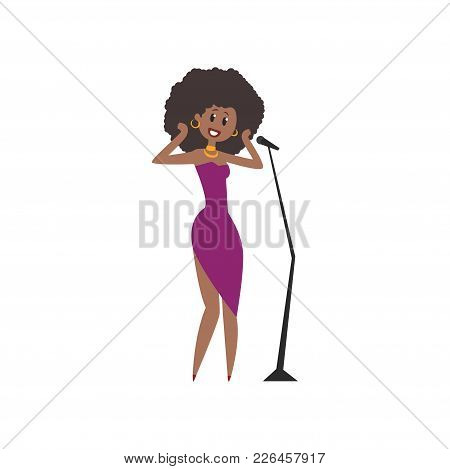 African American Soul Singer, Beautiful Woman In Purple Dress Singing Into Microphone Vector Illustr