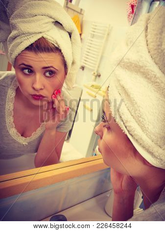 Worried Shocked Woman Looking At Her Reflection In Mirror Thinking About Her Complexes Having Seriou