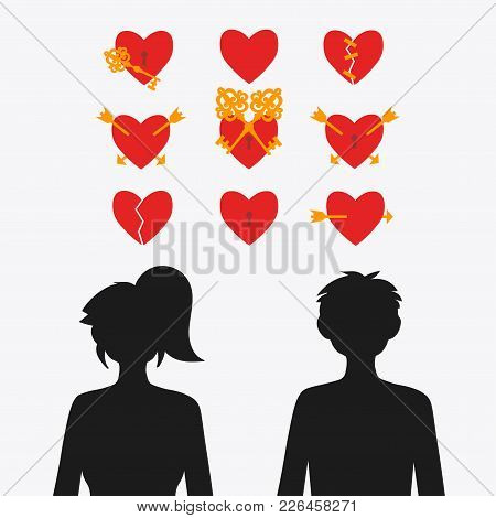 Set Of Vector Hearts And Silhouettes Of A Girl With A Guy. Broken Heart. The Arrow Is Pierced By An