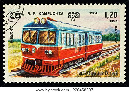 Moscow, Russia - February 12, 2018: A Stamp Printed In Cambodia, Shows German Locomotive Type 803 (1