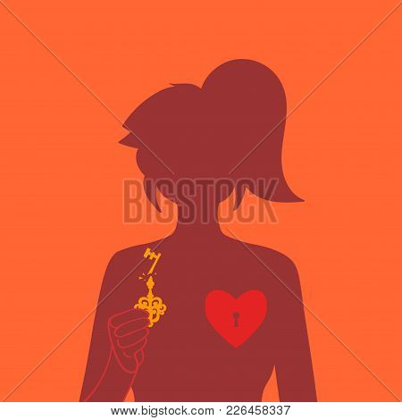 A Lock On The Heart. The Girl Closes Or Opens Her Heart. Silhouettes Of The Girl. Broken Heart. Unre