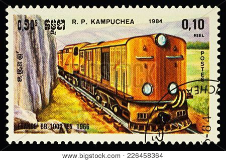 Moscow, Russia - February 12, 2018: A Stamp Printed In Cambodia, Shows Locomotive Bb 1002 (france, 1