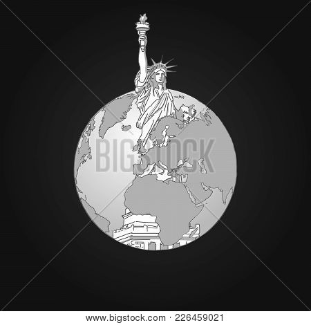 Liberty Statue And Earth. Concept Design. Road Trip. Tourism Sketch Concept With Lady Liberty. Trave