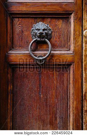 Old Door Knocker. Old Wooden Door. Architecture Detail.
