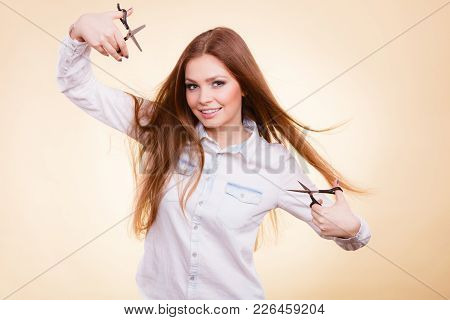 Irresponsibility Danger Haircut Coiffure Care Beauty Concept. Passionate Female Hairdresser. Cheerfu