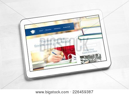 School Website Homepage Design On Tablet Screen. College Application Or Applying For University Conc