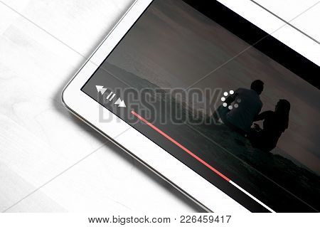 Slow Internet Connection. Bad Online Movie Streaming Service. Loading Icon Rolling On Video. Film Pl