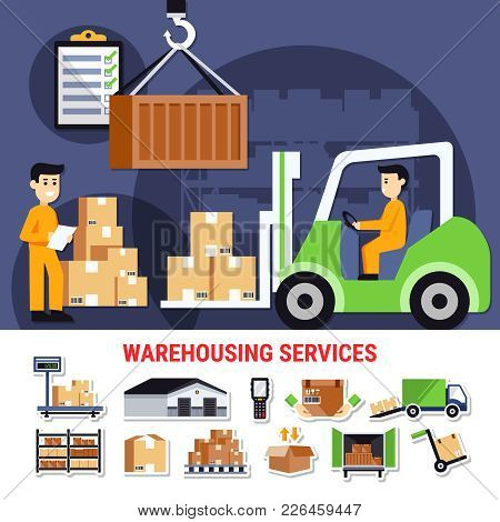 Warehouse Icons Collection With Building Outside, Shelves With Goods, Truck With Cartons, Weight Che