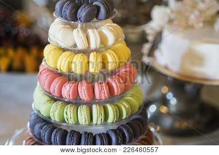 Macaroons On Cake Stand. Dessert, Food, Snack. French Cuisine, Menu, Recipes. Macaroon Cookies For B