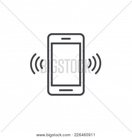Smartphone Or Mobile Phone Ringing Vector Icon, Line Art Outline Cellphone Call Or Vibrate Pictogram