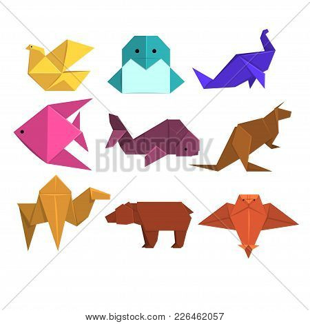 Animals Origami Set, Animals And Birds Made Of Paper In Origami Technique Vector Illustrations On A