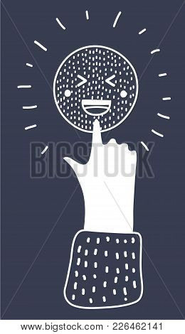 Vector Cartoon Illustration Of White Laughing Icon On Black Background. Human Hand, Love Symbol. Sig