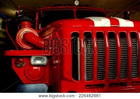 Part Of The Fire Fighting Service Car Is In The Garage And Ready For An Emergency Trip To The Rescue
