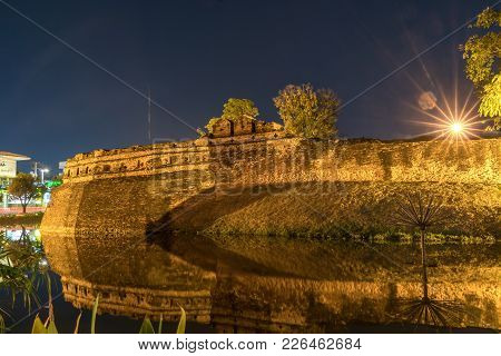 South East Or Katam Corner Of East Wall Of Old Town Wall Long Exposure Night Scene With Wind Ripplin